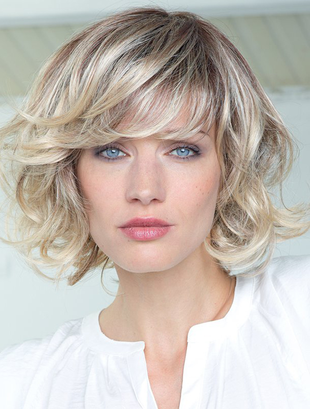 """Blonde Curly 12"""" With Bangs Human Hair Wigs"""