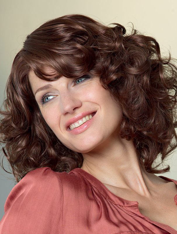 With Bangs Auburn Curly Long Wigs