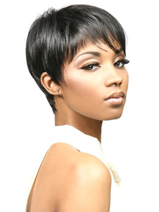 Black Short Straight African American Wigs