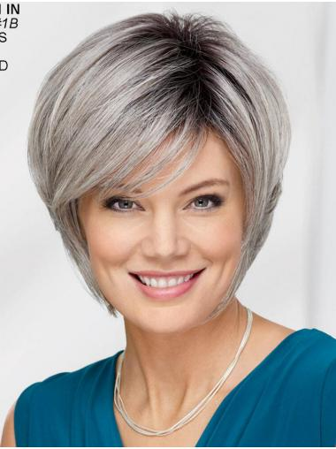 "Straight Chin Length 12"" Capless Best Grey Wigs"