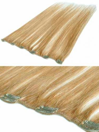 Straight Blonde Cheap Clip in Hair Extensions