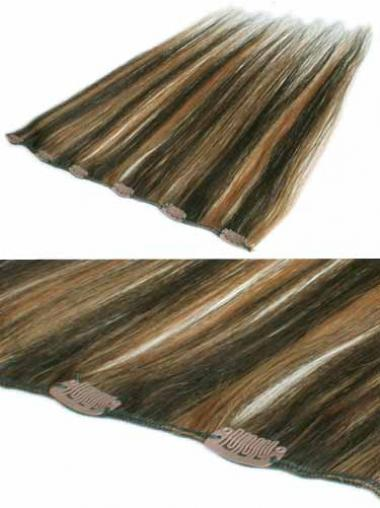 Brown Straight Natural Clip in Hair Extensions