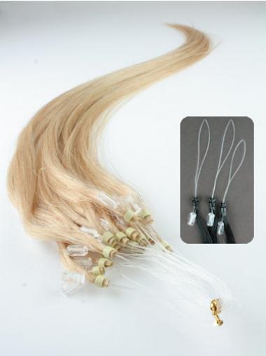 Blonde Straight Top Hair Extensions Micro Loop Ring