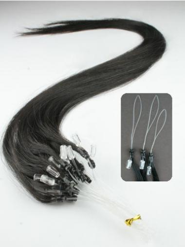 Black Straight Trendy Hair Extensions Micro Loop Ring