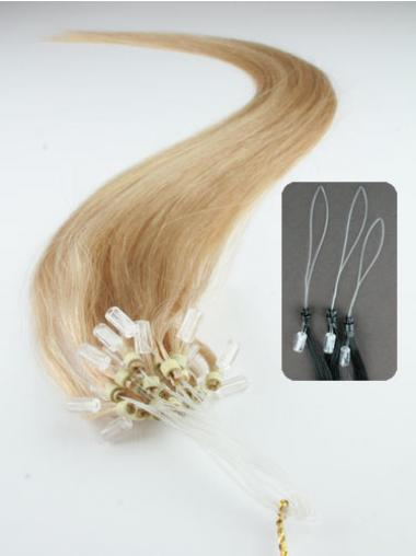Straight Blonde Comfortable Hair Extensions Micro Loop Ring
