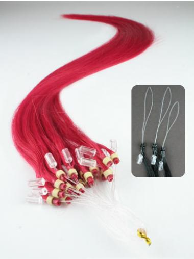 Red Straight Ideal Hair Extensions Micro Loop Ring
