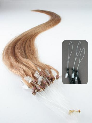 Straight Blonde Fashionable Hair Extensions Micro Loop Ring