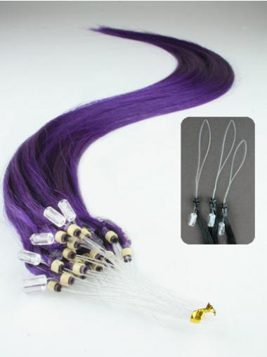 Straight Black Convenient Hair Extensions Micro Loop Ring