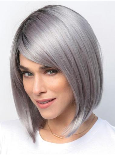 Straight Chin Length Monofilament Synthetic Perfect Grey Wigs