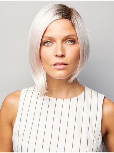 Straight Chin Length Monofilament Synthetic Discount Grey Wigs