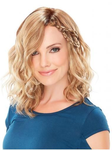 Wavy With Bangs Natural Blonde Monofilament Medium Wigs