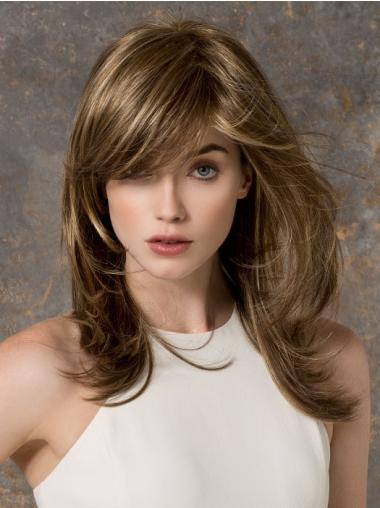 Straight Brown With Bangs Fashionable Long Wigs