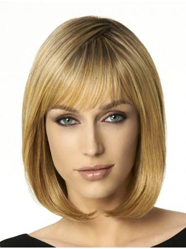 Blonde Bobs Synthetic Ideal Medium Wigs