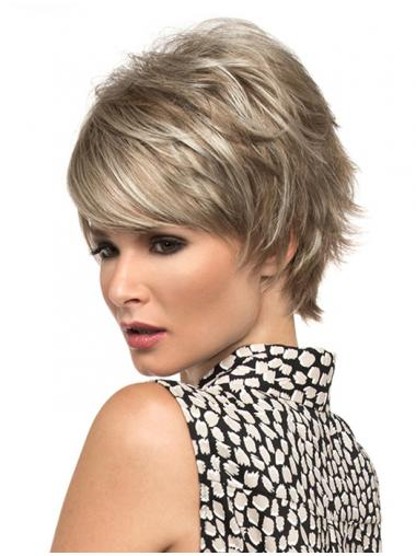 Blonde Synthetic Wavy No-fuss Short Wigs