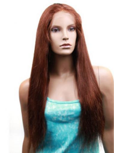 Straight Auburn Without Bangs Fabulous Human Hair Lace Front Wigs