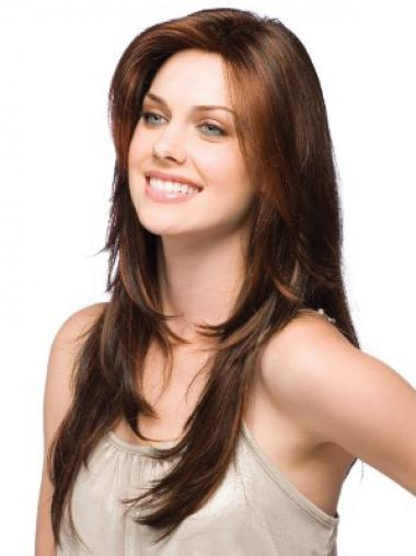 Straight Layered Auburn Great Human Hair Wigs