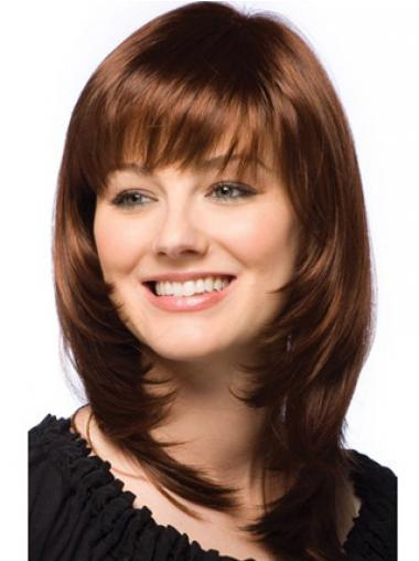 Straight Layered Auburn Beautiful Human Hair Wigs