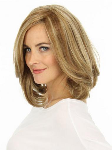 Blonde Wavy Layered Flexibility Medium Wigs