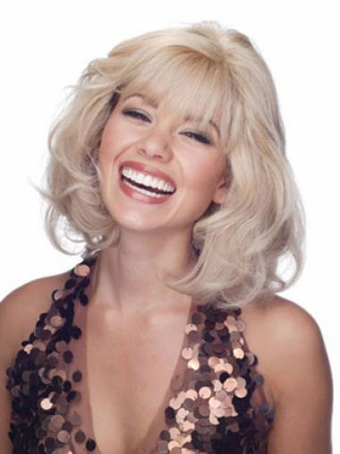 Blonde Lace Front Wavy No-fuss Medium Wigs