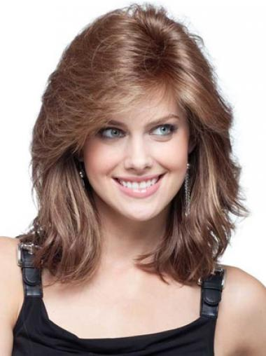 Auburn With Bangs Wavy Perfect Remy Human Lace Wigs