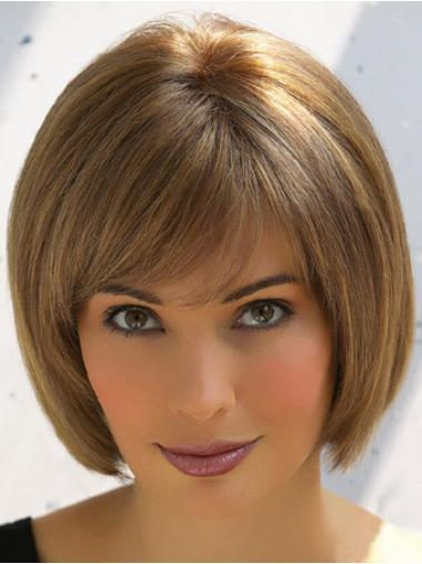 Brown Bobs Straight Suitable Human Hair Wigs