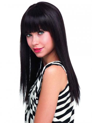Black With Bangs Straight Modern Human Hair Wigs