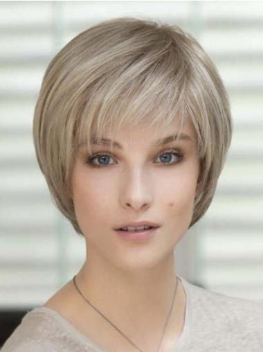 Straight Blonde 100% Hand-tied Sassy Classic Wigs