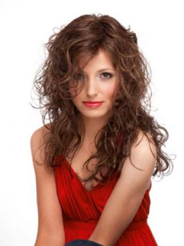 Auburn Layered Curly Sleek Long Wigs