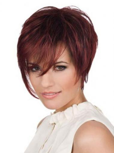 Red Boycuts Straight Flexibility Celebrity Wigs