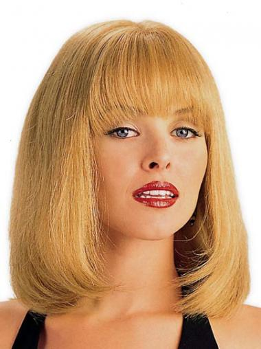 Straight Blonde With Bangs Hairstyles Medium Wigs