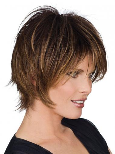 Straight Brown Layered Incredible Human Hair Wigs