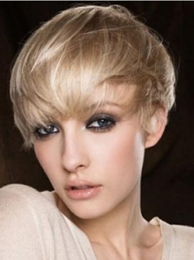 Blonde Boycuts Straight No-fuss Human Hair Wigs