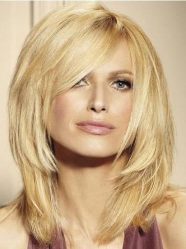 Blonde Layered Straight No-fuss Medium Wigs