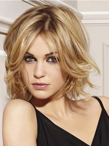 Blonde Layered Wavy Stylish Remy Human Lace Wigs