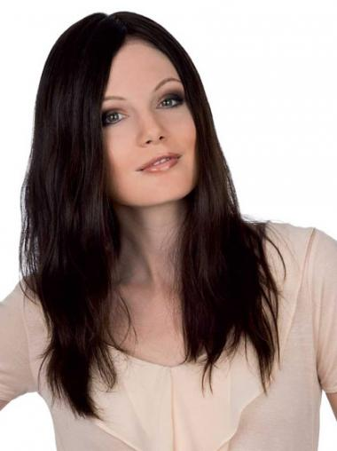 Straight Auburn Without Bangs Durable Remy Human Lace Wigs