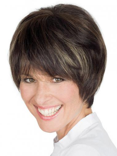 Straight Brown Boycuts Comfortable Short Wigs