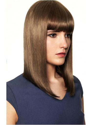 Straight Brown With Bangs Exquisite Human Hair Wigs
