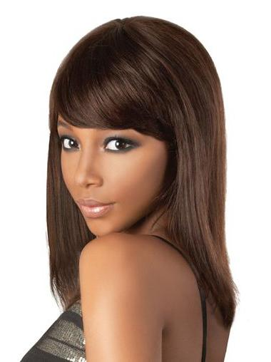 Popular Brown Indian Remy Hair Medium Wigs