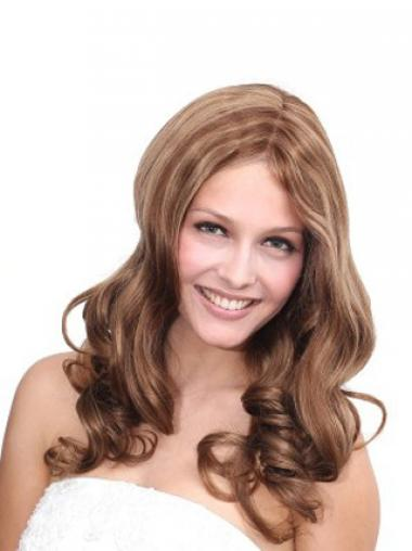 Brown Remy Human Hair Wavy Durable Long Wigs