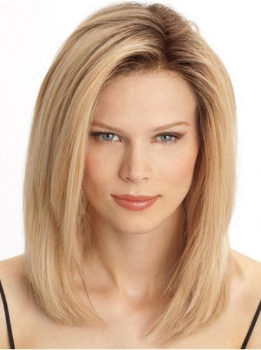 Straight Blonde Beautiful Medium Wigs