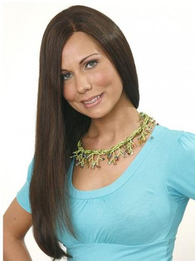 Straight Brown Without Bangs Cheap Human Hair Wigs