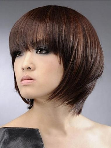 Straight Auburn Bobs Gorgeous Human Hair Wigs