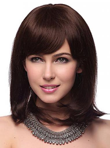 Auburn With Bangs Straight Trendy Human Hair Wigs