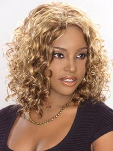 Blonde Afro Curly Fashion Medium Wigs