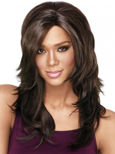 Brown Layered Wavy Ideal African American Wigs
