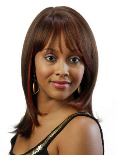 Brown Indian Remy Hair Straight Suitable African American Wigs
