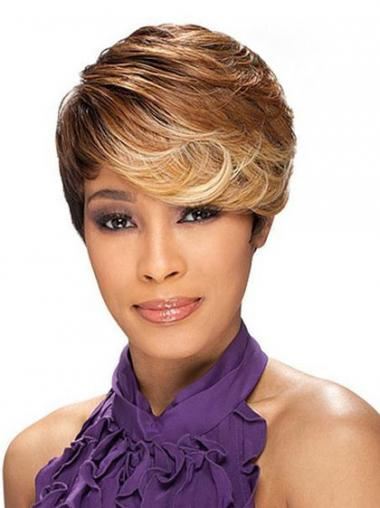 Wavy Brown Layered Discount African American Wigs