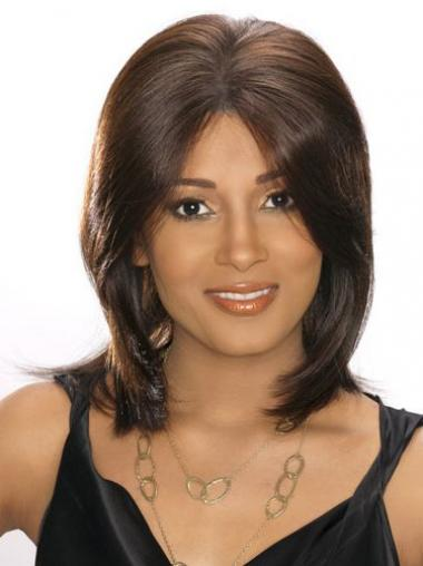 Straight Brown Brazilian Remy Hair Affordable Medium Wigs