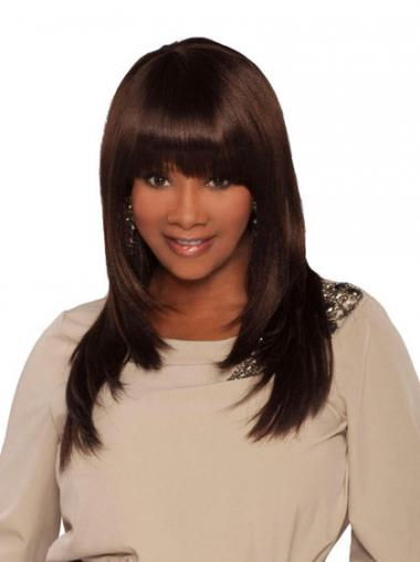 Brown With Bangs Straight Top African American Wigs