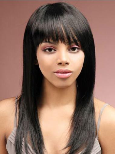 Straight Black Indian Remy Hair Amazing African American Wigs
